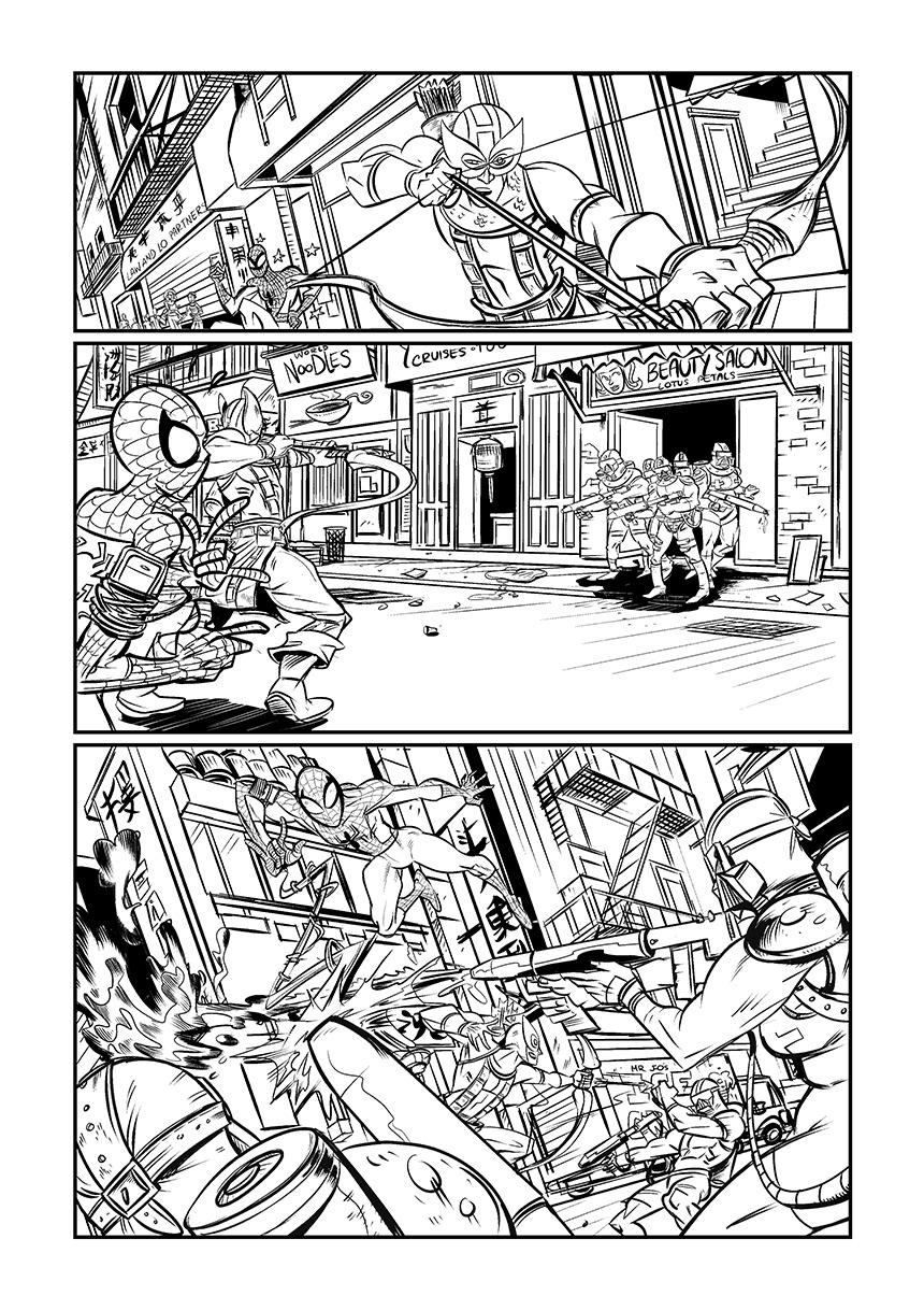 spiderman hawkeye marvel  comic samples