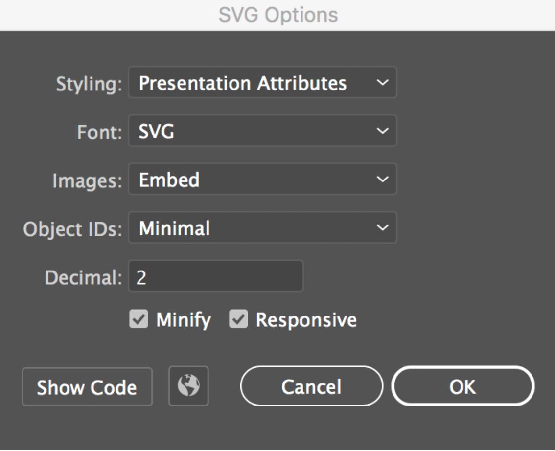illustrator svg export options