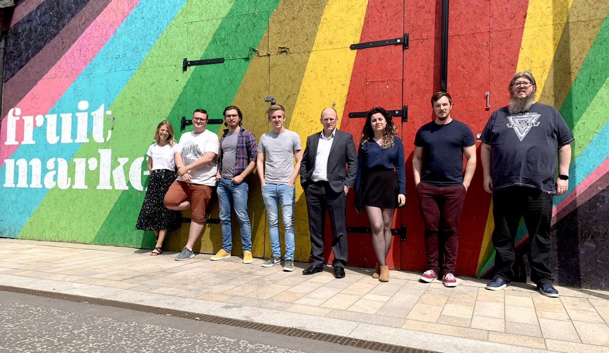 Left to right: Gemma Wilson, Mark Hickson, Mike Bower, Adam Clarkson, Mark McAlpine, Alexandra Docolin, Joe Axon and Joe Sward.