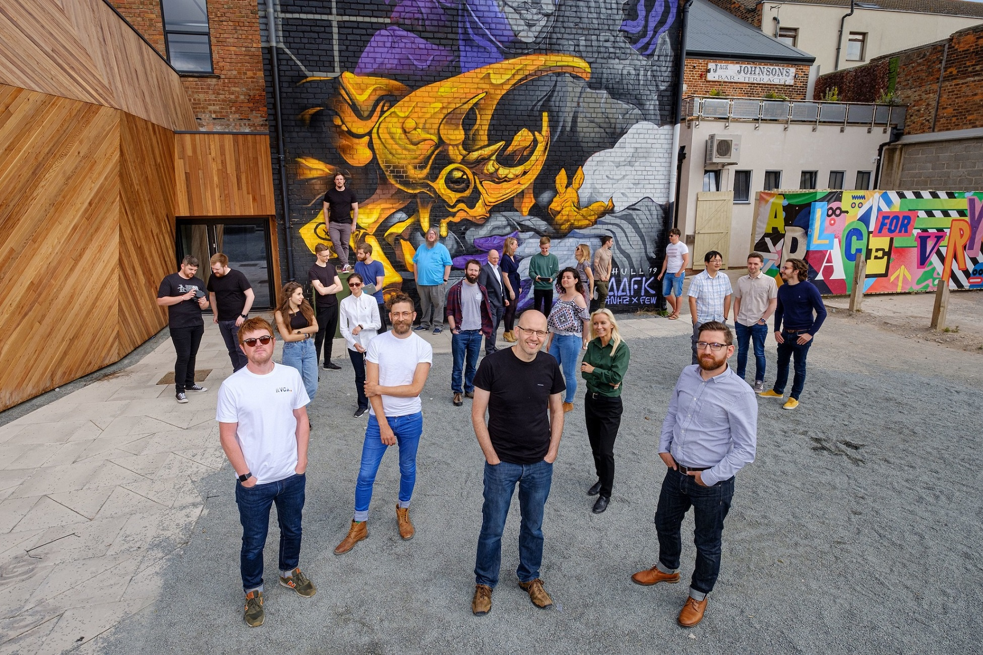 Most of our ever-growing team in Hull's Fruit Market urban village where we have our home.