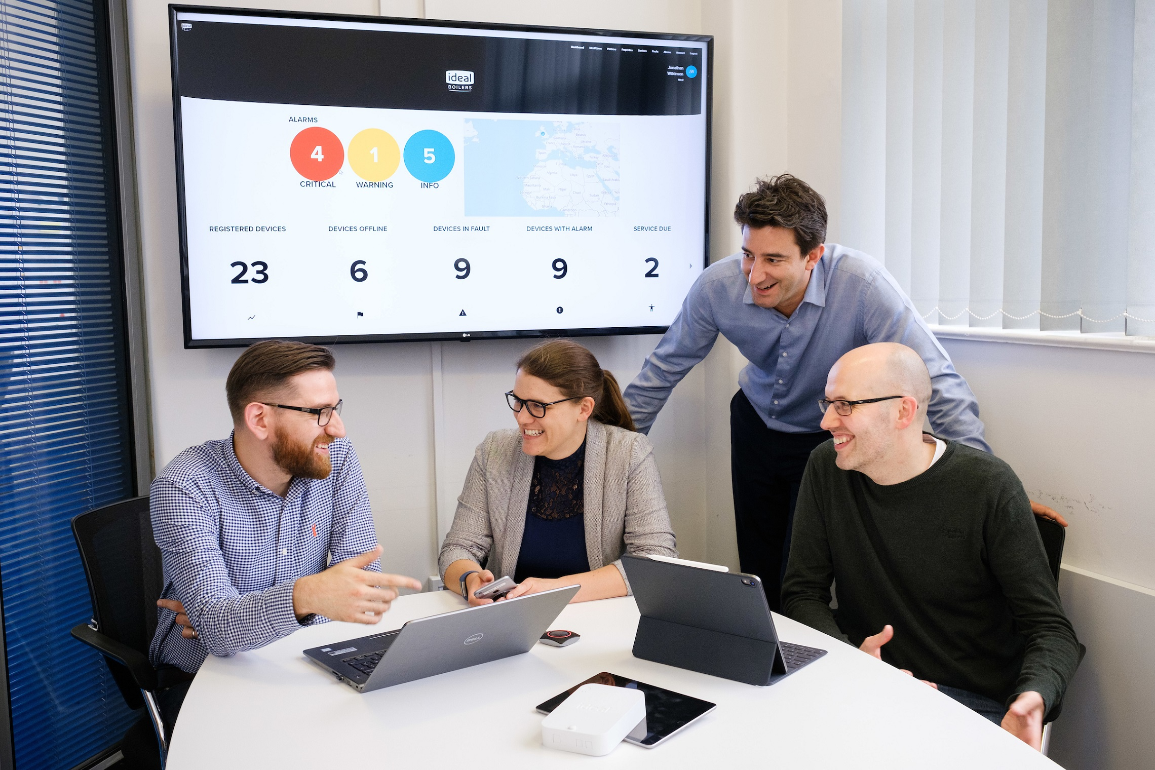 We've worked with Ideal Boilers to develop a smart heating system using Internet of Things (IoT) technologies. Our Matt Weldon, left, and John Polling, right, are pictured at Ideal's Hull site with Lizzie Wilkinson, Head of Domestic Product Management, Groupe Atlantic UK, and Jonathan Wilkinson, Head of IoT for Groupe Atlantic UK.