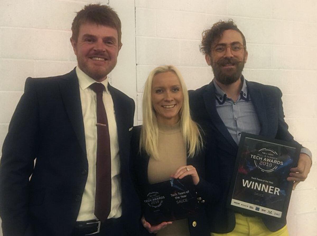 Sauce directors Matt Gibson, Claire Clarke and Jim Wardlaw at the Hull & Humber Tech Awards.