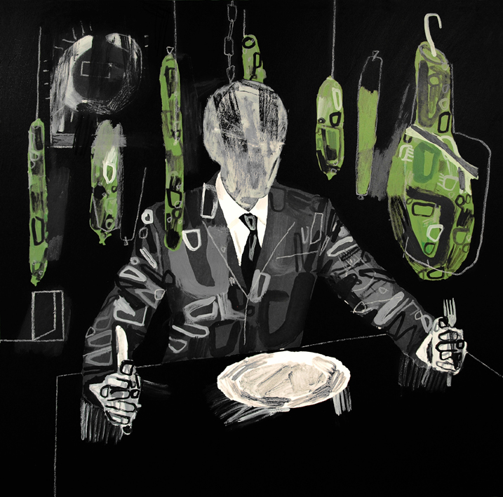 Grey man with radioactive pork.