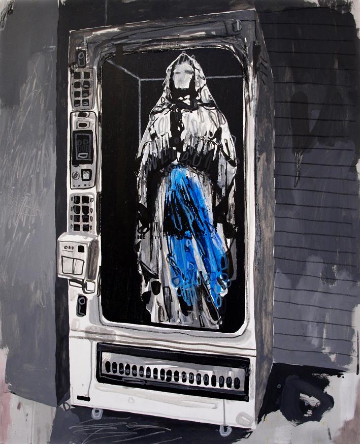 Saint in a vending machine.