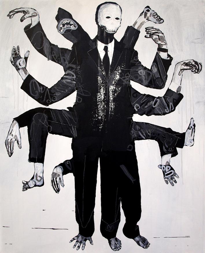 Figure with broken mask.