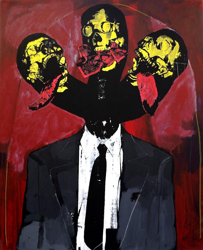 Figure with three heads.