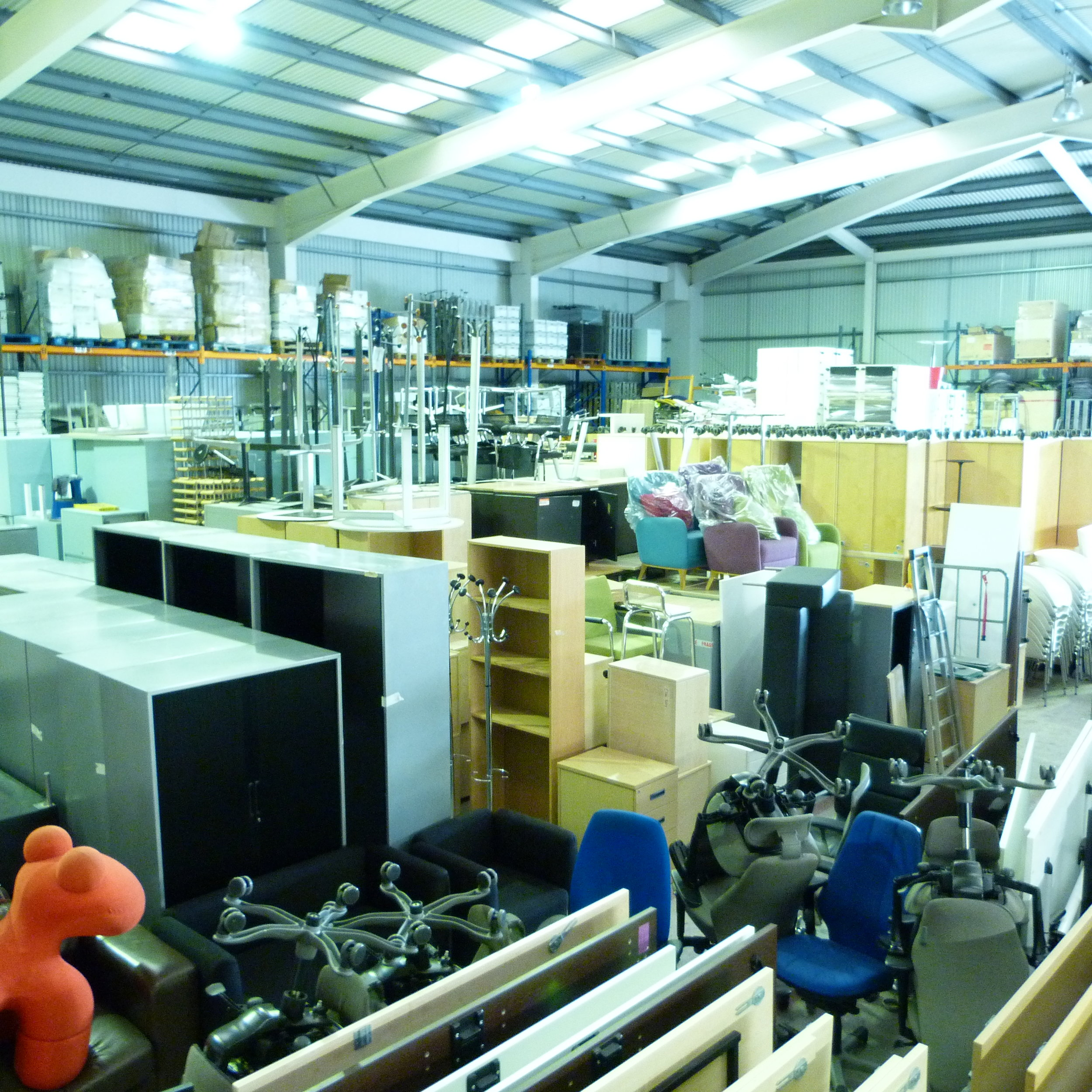 Our warehouse holds thousands of items of office furniture — solutions for businesses of any size.