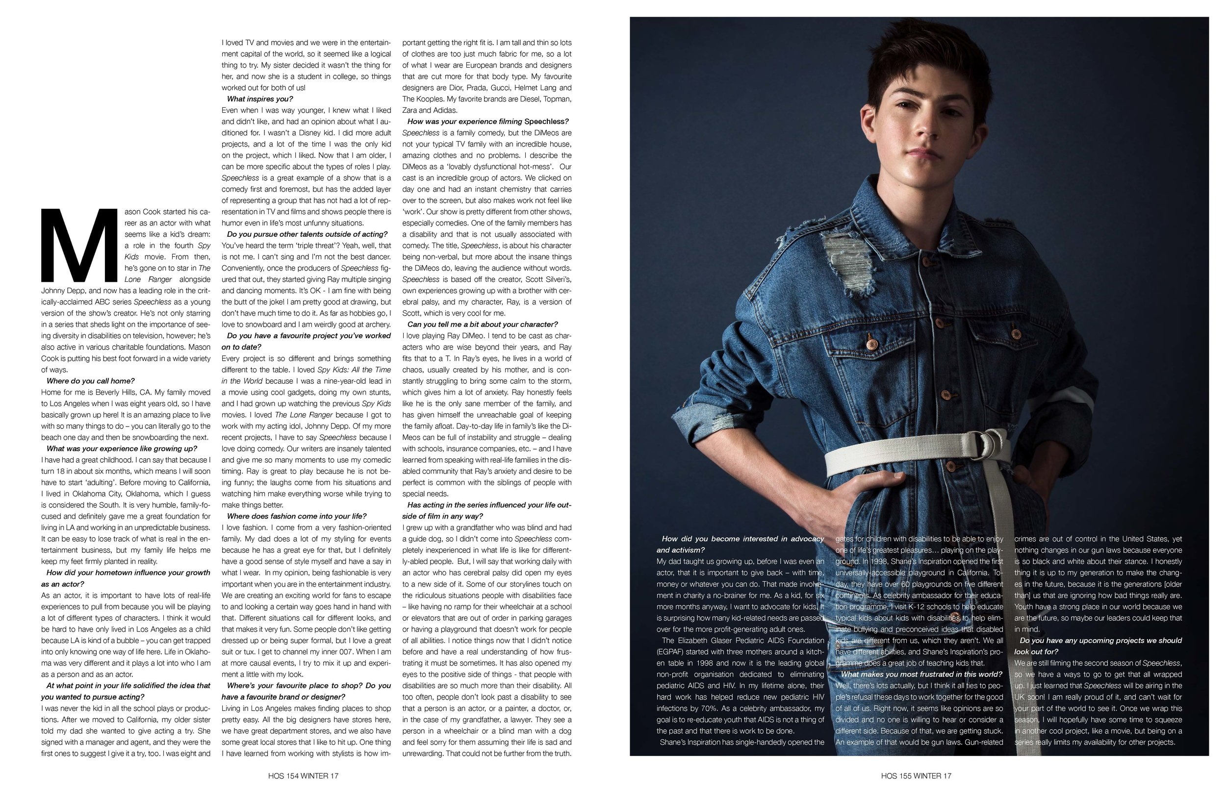 Mason Cook - Interview - 'It can be easy to lose track of what is real in the entertainment business, but my family life helps me keep my feet firmly planted in reality.'(Photographer: Ted Sun // Retoucher: Emerald Monzon // Groomer: Crystal Tran for Exclusive Artists using Malin + Goetz // Stylist: Philippe Uter)