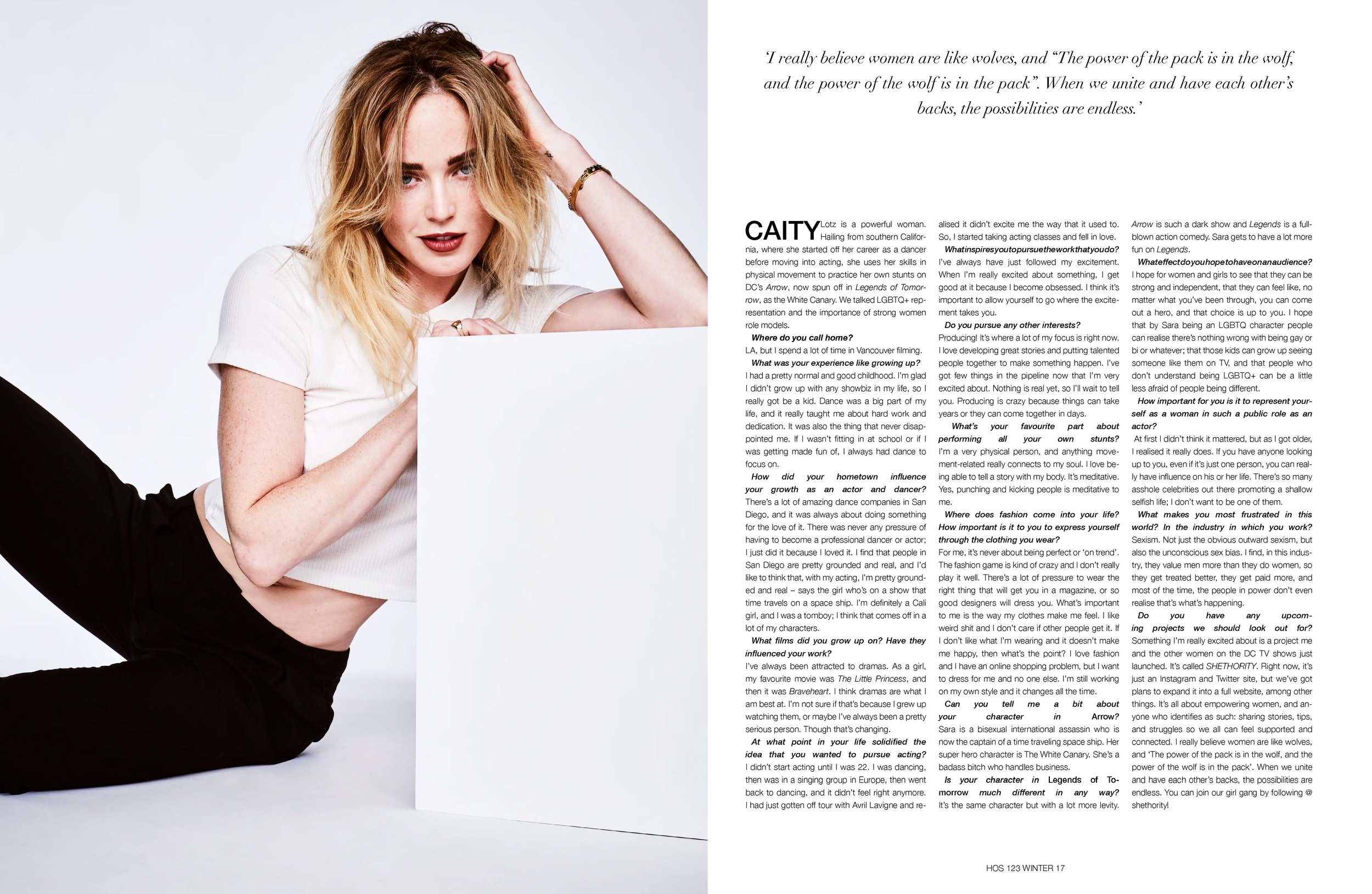 """Caity Lotz - Interview - 'I really believe women are like wolves, and """"The power of the pack is in the wolf, and the power of the wolf is in the pack"""". When we unite and have each other's backs, the possibilities are endless.'(PHOTOGRAPHER: RICKY TOMPKINS // STYLIST: TARA NICHOLS // HAIR STYLIST: DALLIN JAMES // MAKE-UP ARTIST: ELIZABETH WINDUST)"""