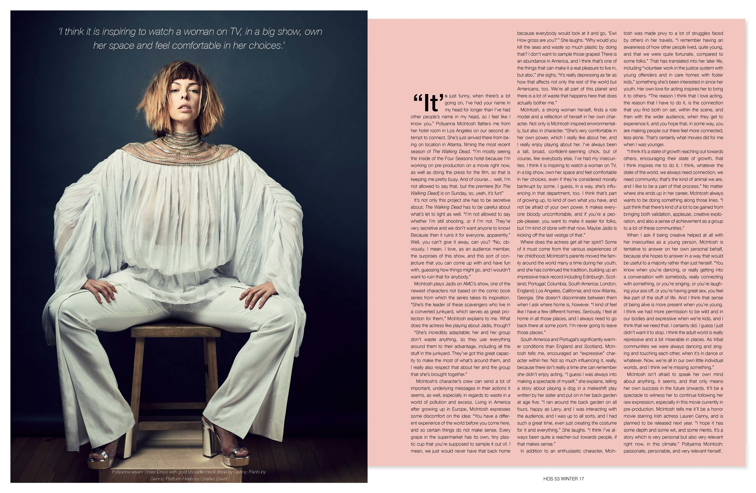 Pollyanna McIntosh - Interview - 'I think it is inspiring to watch a woman on TV, in a big show, own her space and feel comfortable in her choices.'(PHOTOGRAPHER: CHRISTOPHER PATEY // STYLIST: KELLY BROWN // HAIR BY MICHAEL KANYON USING AMERICAN ENGLISH FOR CELESTINE AGENCY // MAKEUP BY CHRISTINA GUERRA USING KAT VON D FOR CELESTINE AGENCY)