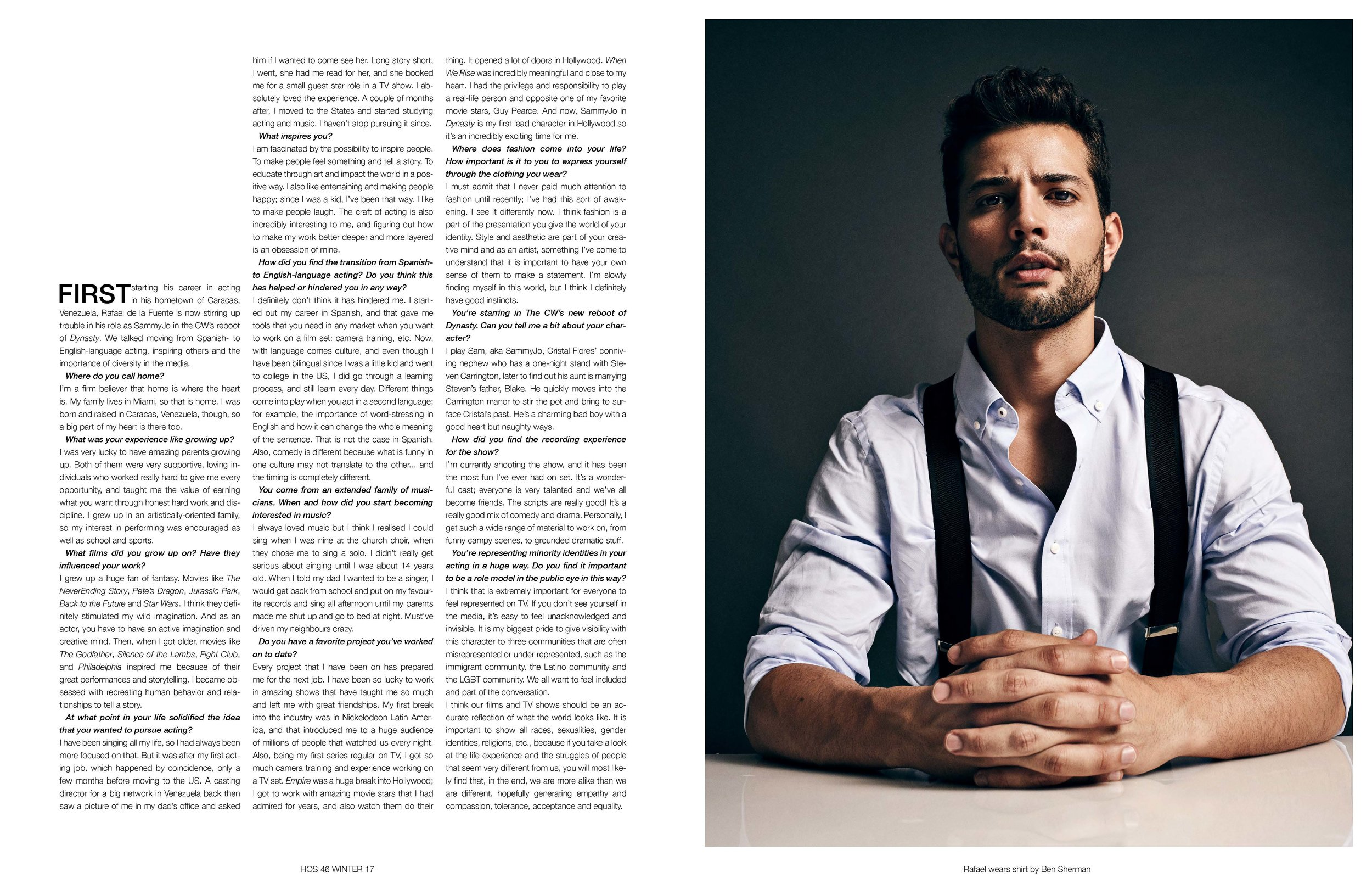 """Rafael de la Fuente - Interview - """"I AM FASCINATED BY THE POSSIBILITY OF INSPIRING PEOPLE""""(PHOTOGRAPHER: BENJO ARWAS // STYLIST: ADENA ROHATINER // Hair Stylist: GRACE PHILLIPS)"""