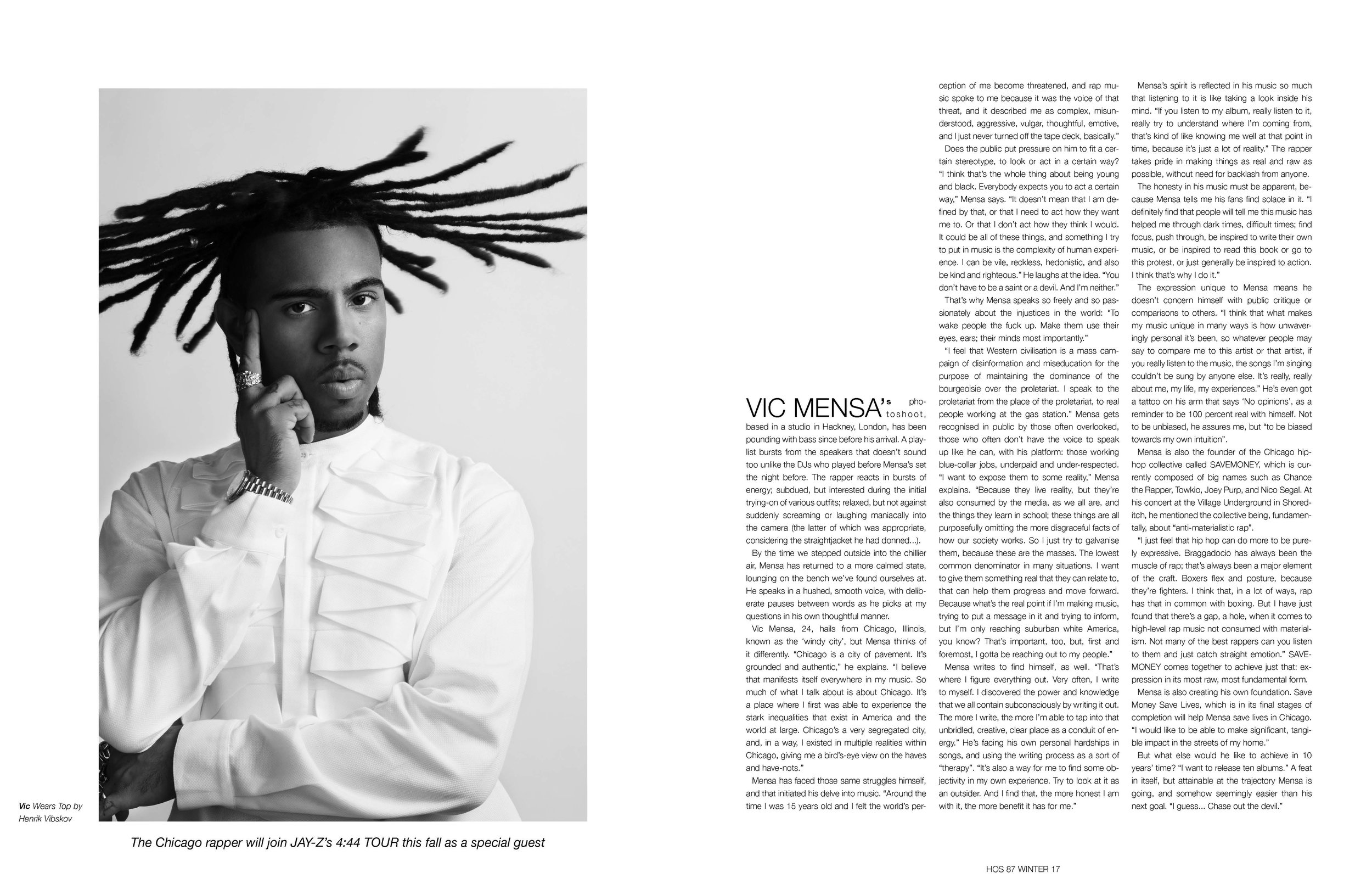 Vic Mensa - Interview - 'I feel that Western civilisation is a mass campaign of disinformation and miseducation for the purpose of maintaining the dominance of the bourgeoisie over the proletariat.'(Photographer: NIKLAS HAZE // Stylist: KIRUBEL BELAY // Hair and make-up artist: REVE RYU // Production: LILIAN BÜECHNER)