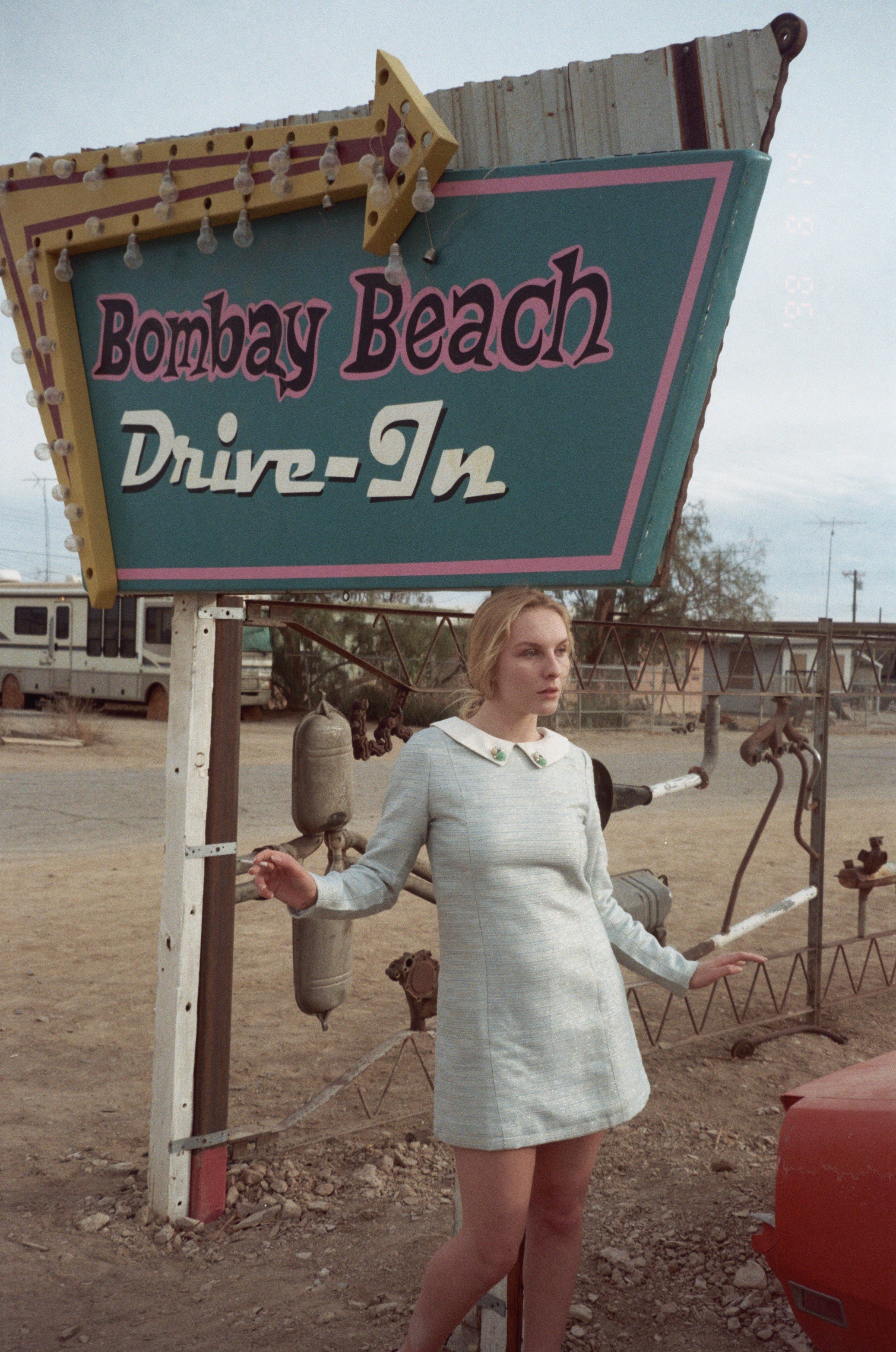 Tess at the Bombay Beach Drive-In