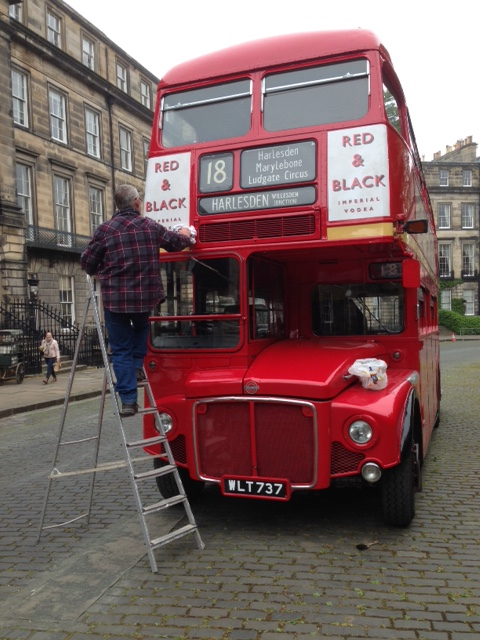 Dirtying the ads in Moray Place. They looked far too clean at first.  Picture: Sam Phipps