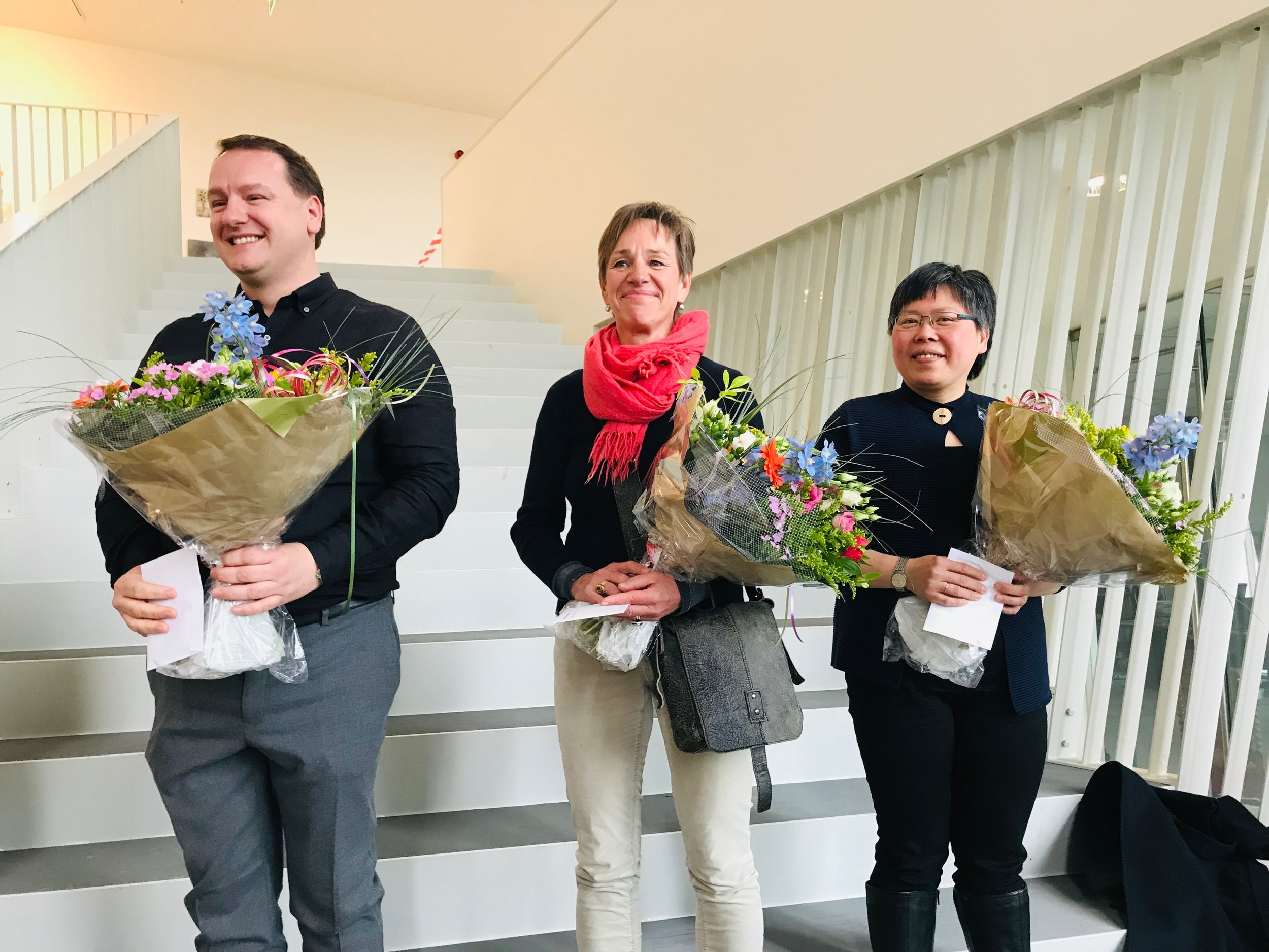 De drie winnaars: Johannes Bosgra, Martina Hladikova & Melda Wibawa