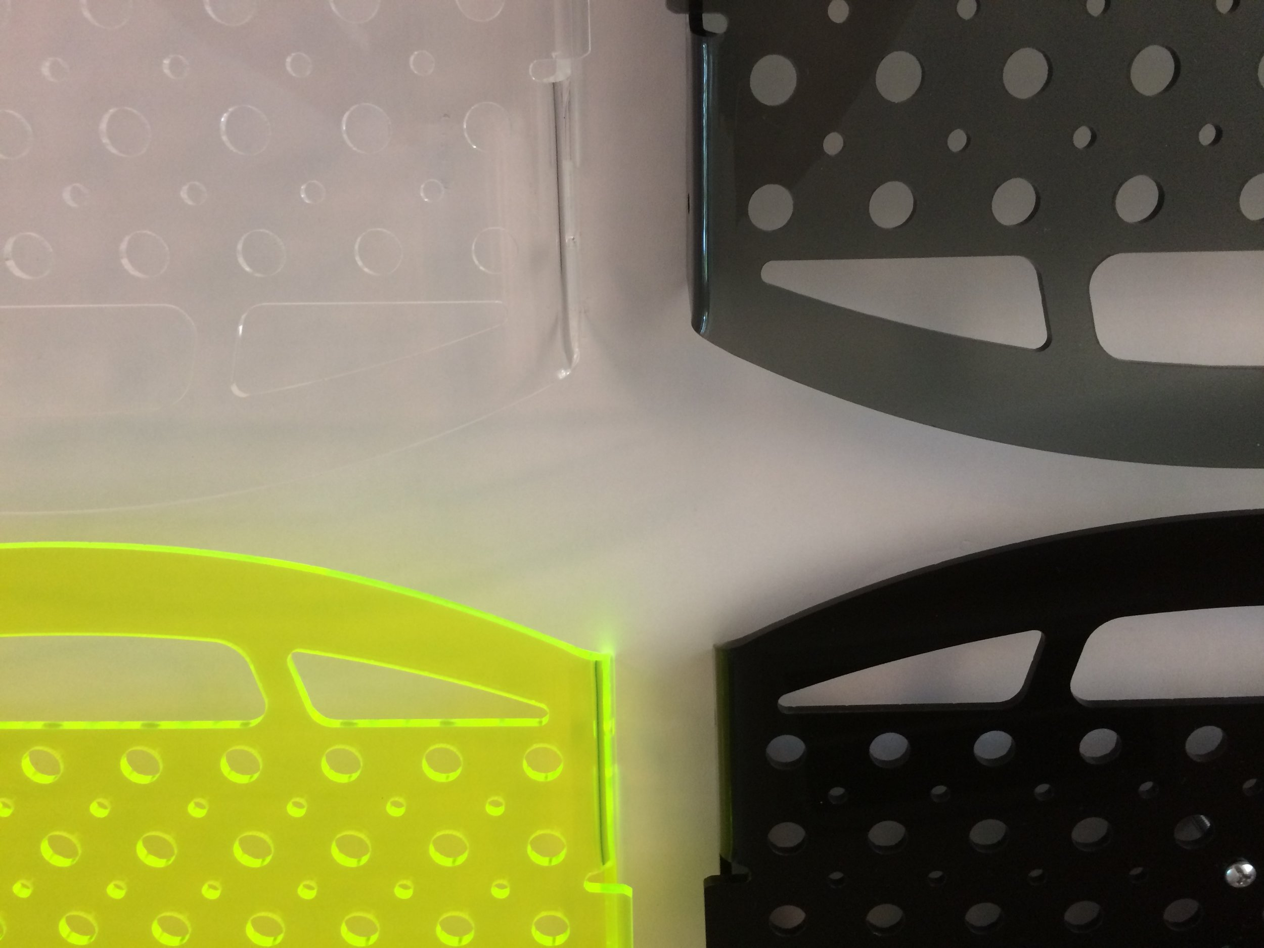 Colors! - Acrylic offers so many possibilities. We're bringing black, clear, smoke grey and flourescent green to the Maker Faire. Wonder what other colors Makers will want for their projects...