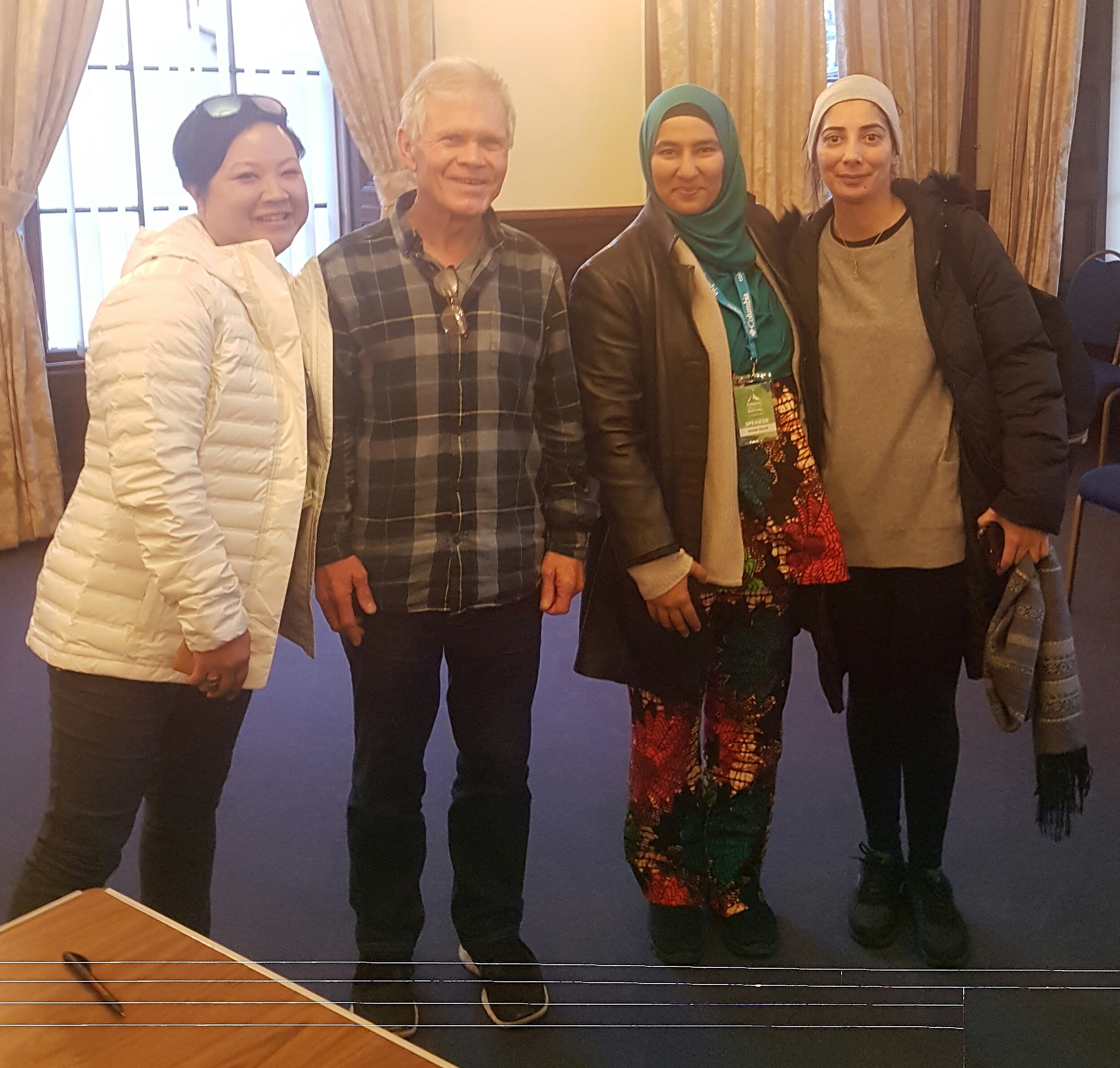 with Leslie Hsu Oh (Outdoor editor for panorama journal), the legend Rick Ridgeway (has been honoured with National Geographic's 'Lifetime Achievement' award) & Misba Khan (UK representative for an ALL-WOMAN expedition team going to the North Pole, 2018)  at the Kendal Mountain Festival (Nov 2017)