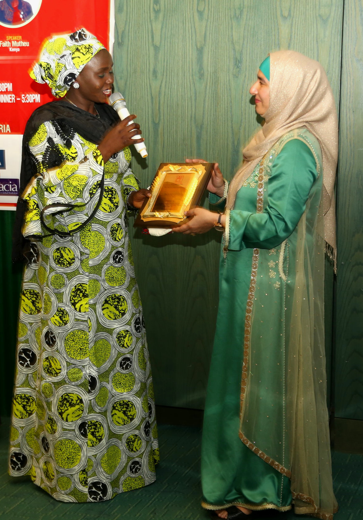 Receiving a Special Prize 'in recognition of efforts towards the growth and development of the African Literary Space' from the African Writers Development Trust Conference, Abuja,  NIGERIA (1 Dec 2018)  Presented by Halima Usman (President of the Association of Nigerian Authors AMA)