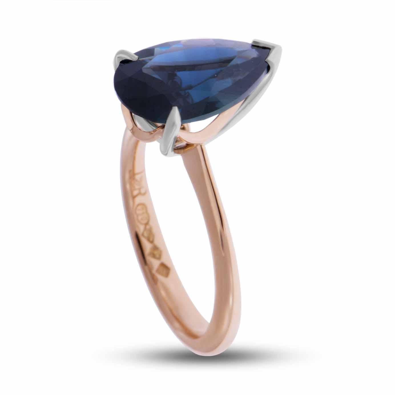 UnHeated Australia Pear shape Sapphire - Platinum - Rose Gold