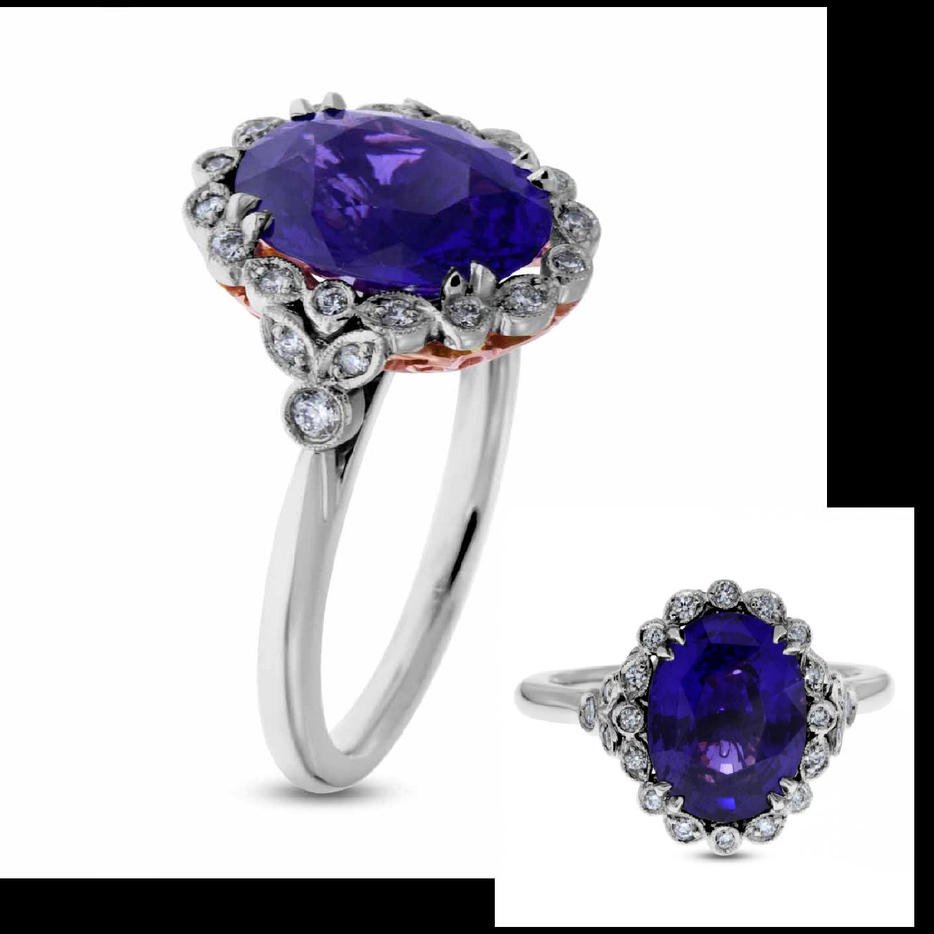 Colour Change Sapphire - Diamonds - Platinum - Rose Gold