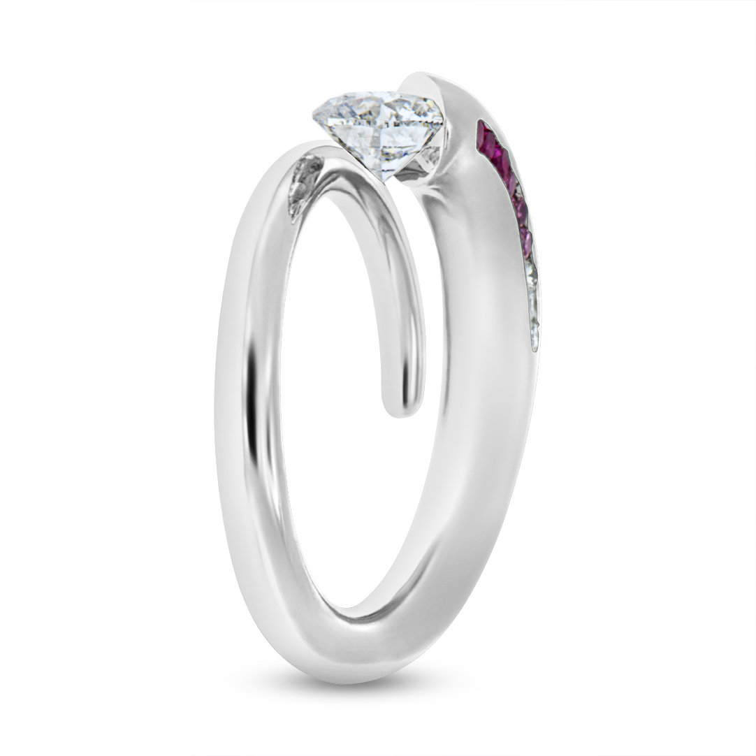 Styled on our famous Comet design, - platinum - pink & white diamond