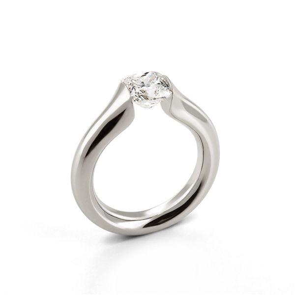 LuLu tension ring - platinum - cushion cut diamond