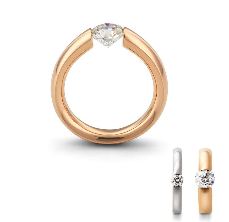 """Freyja"" tension - rose gold - diamond"