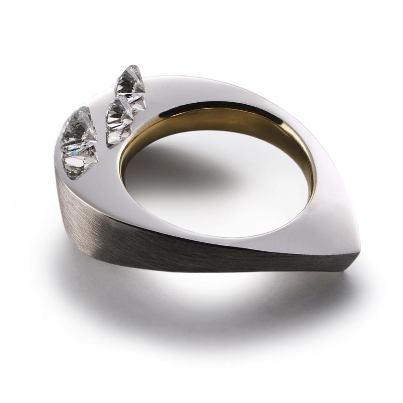 """Orion"" - Grey & Yellow Gold - ""Flametree"" Mokume Gane - Magic Set Diamonds"