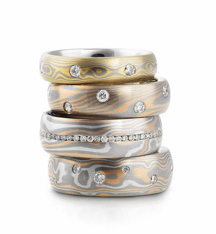 Diamond Set Mokume Rings  Various colours
