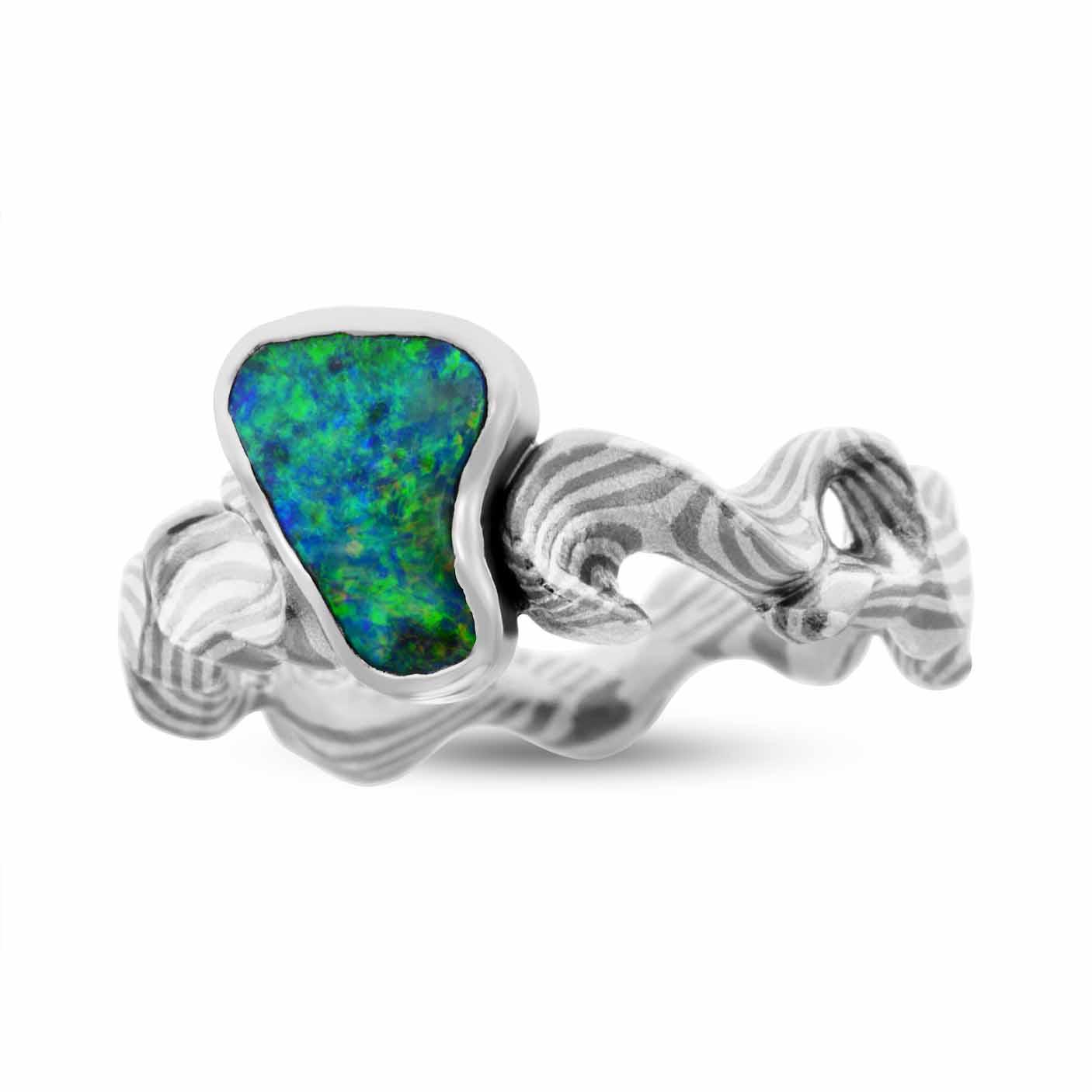 """""""Ripple"""" - Ghostgum Mokume Gane - Australian Boulder Opal"""