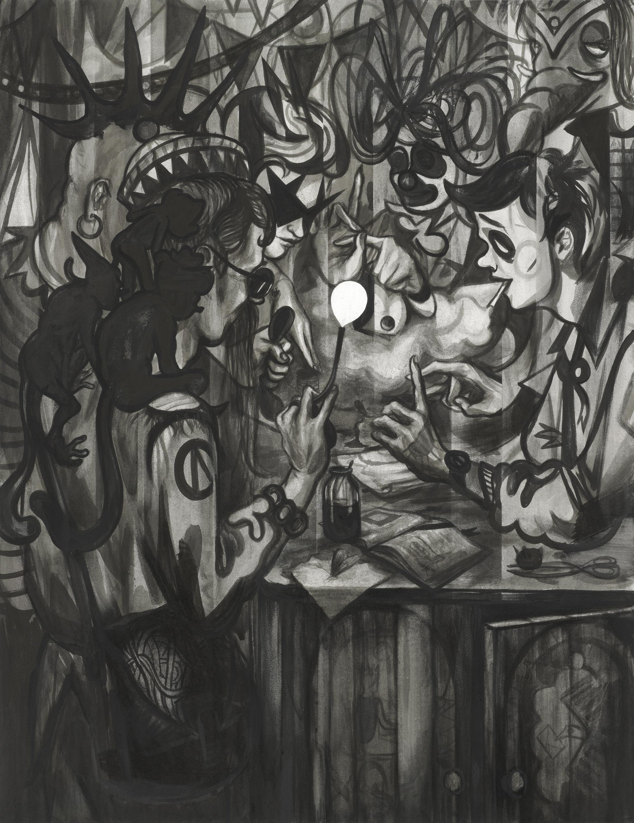 Die Profis, 2018, Tusche auf Papier, 129 x 99 cm.jpg