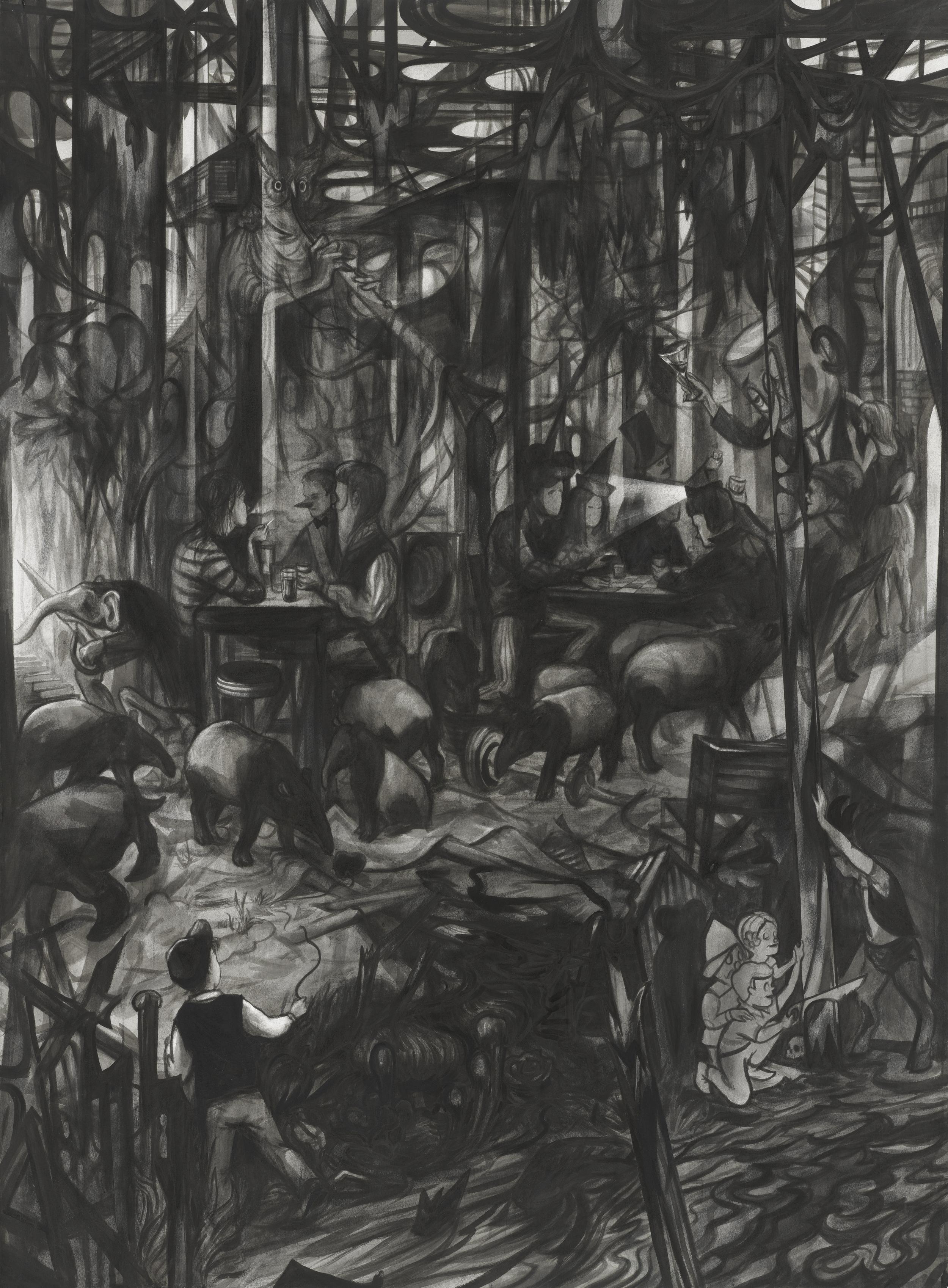 Saisoneröffnung, 2018, Tusche auf Papier, 163,5 x 121 cm.jpg