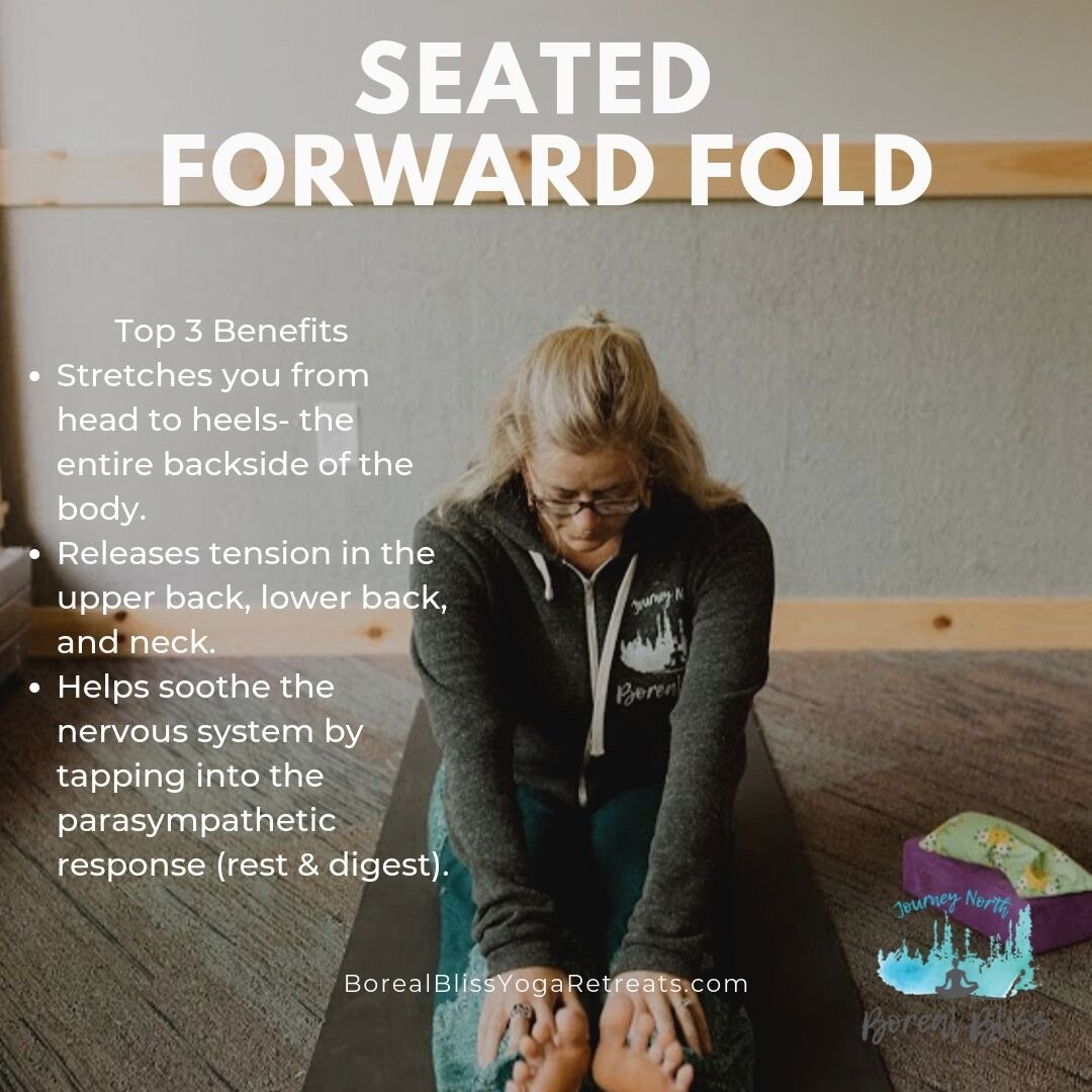 """Sit up straight with your feet hip-width apart. Gently fold forward from your hips while keeping your spine elongated from tailbone to crown of head. Avoid dumping your chin into your chest. Focus on keeping your spine straight and knees slightly bent. Breathe deeply and hold for 1–3 minutes.  If it feels good, spread your legs into a """"V"""" shape and inhale to lengthen your spine, then exhale as you fold over the right leg and the left leg. Move slowly and luxuriously. This is a restful practice!  Benefits: This posture stretches you from head to heels- the entire backside of the body. This posture releases tension in the upper back, lower back, and neck. This posture helps soothe the nervous system by tapping into the parasympathetic response (rest & digest)."""