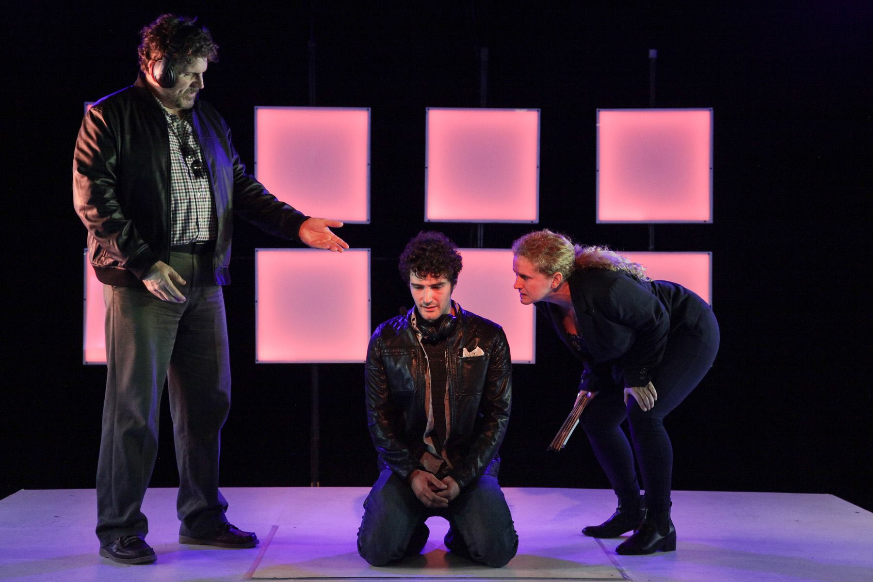 As Officer Harris with Robert Koon as Hunter and Daniel Chenard as Tom. (Photo: Emily Schwartz)