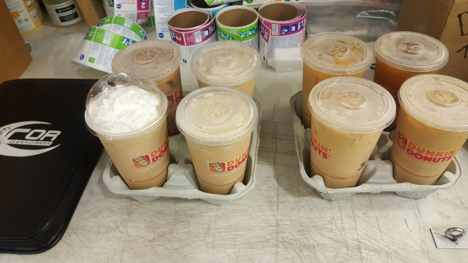 A few of our purchased ice coffees from Dunkin' Donuts.