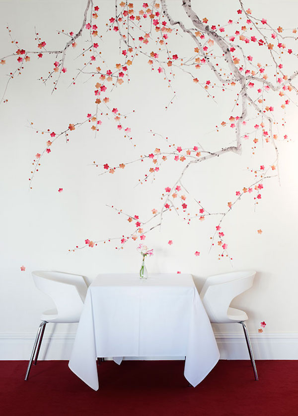 Plum Blossom in original design colours on bleached white dyed silk, de Gournay – price available on request