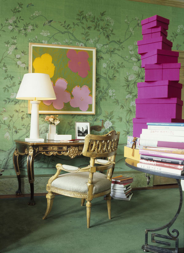 'Askew' design in full custom design colours on Emerald Green India tea paper, de Gournay –price available on request