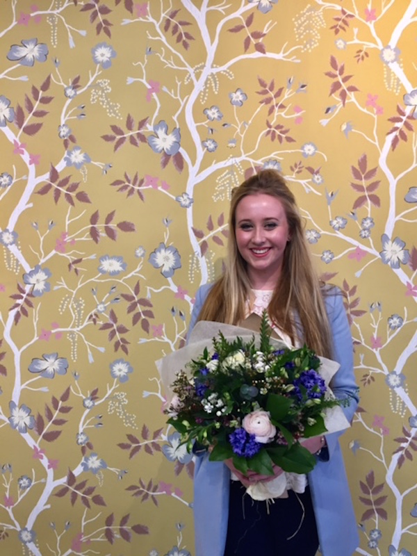 Lucinda Rogers with her winning design, Cinda Roses, which retails at £58.80 per m