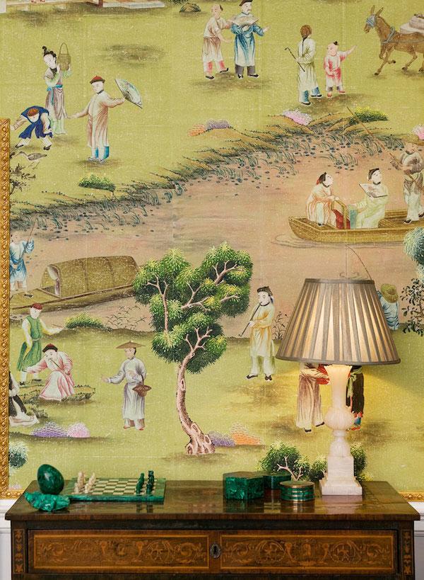 'Hampton Court' on Vivid Olive India Tea Paper, de Gournay – price on request