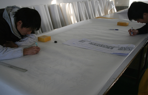 A full-scale template is drawn up