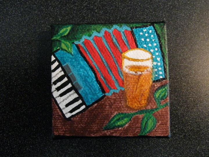 """2"""" x 2"""" Itty Accordion & Beer - SOLD"""