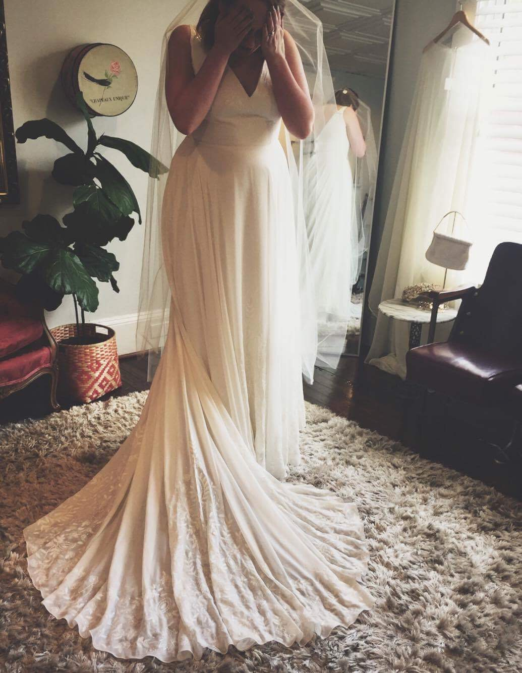 The Big Bride Club's own  Abi Menzies  at one of her dress appointments. This  Rebecca Schoneveld  gown turned out to be the one!