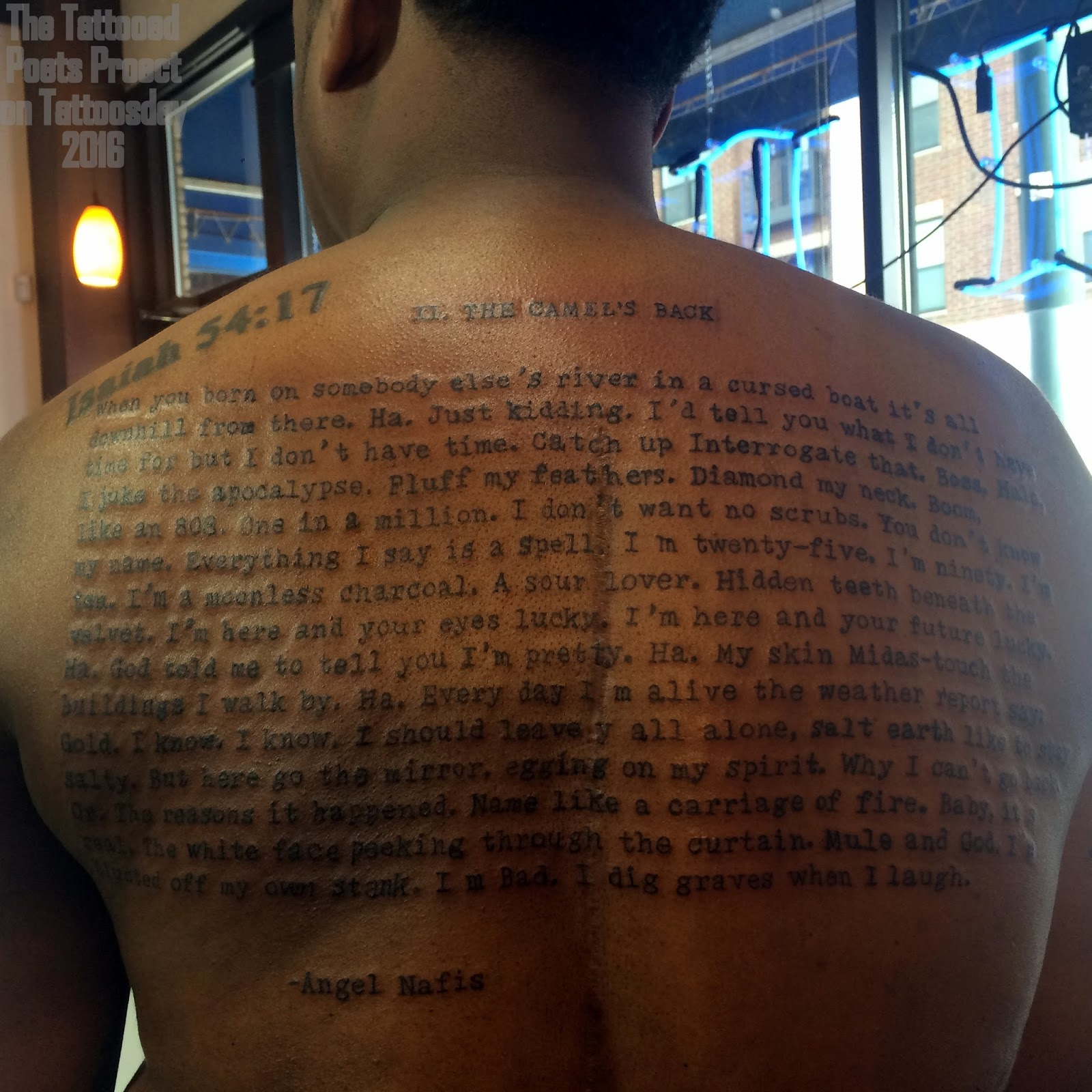 Danez Smith's back, the text is from Gravity by Angel Nafis; Source: http://tattoosday.blogspot.com/