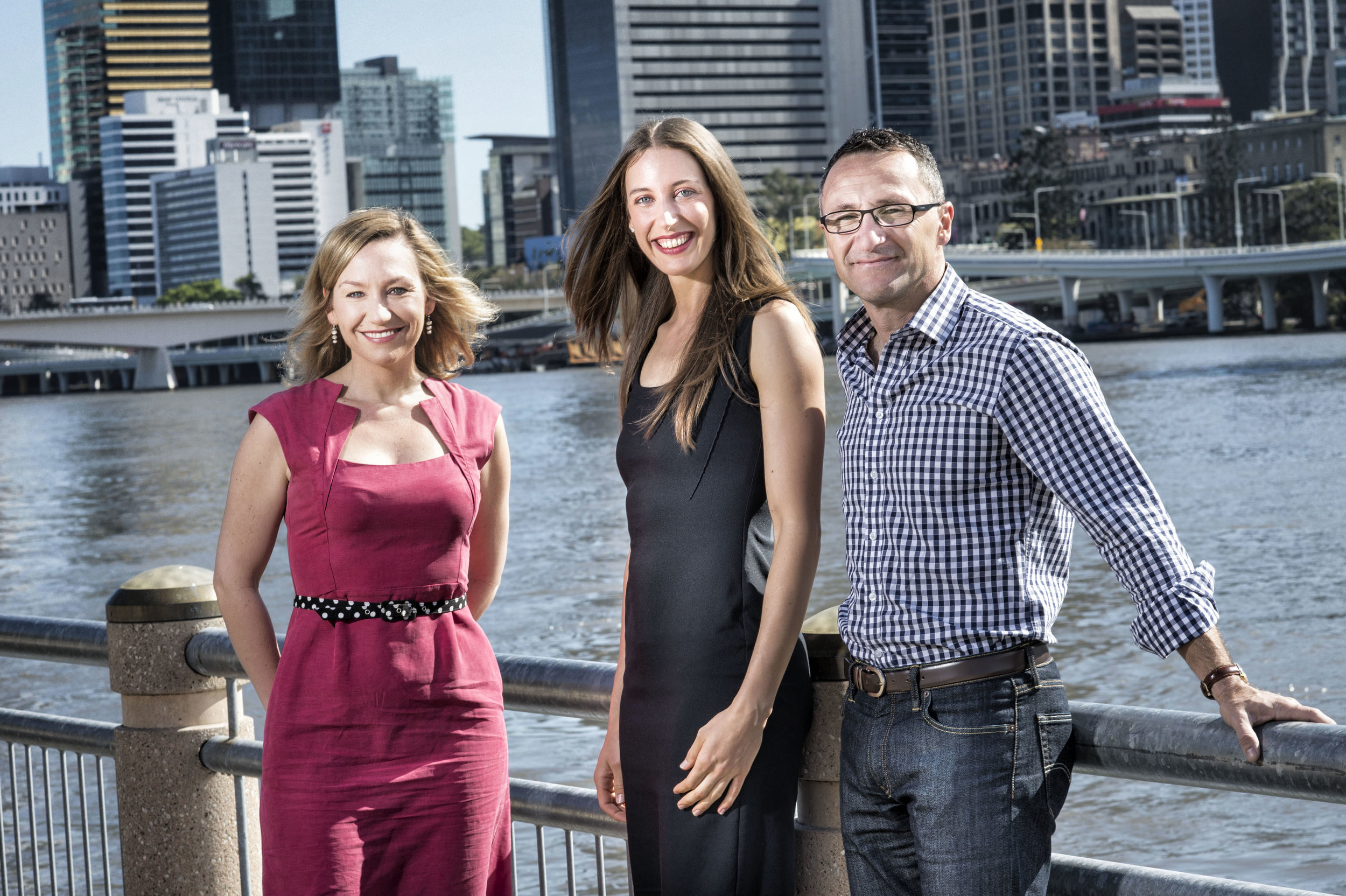 Claire Ogden pictured with Larissa Waters, former Senator for Queensland representing the  Australian Greens ,and Richard Di Natale,Australian Senator and leader of the Australian Greens.