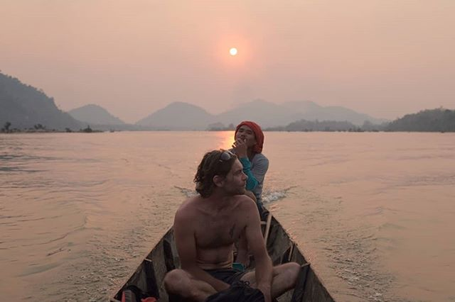 The Mekong is a magical place. Jurassic scenery all around, and the sleepiest sunsets you can imagine. Shortly after this, we spotted from freshwater 'Irrawady' dolphins on the river.