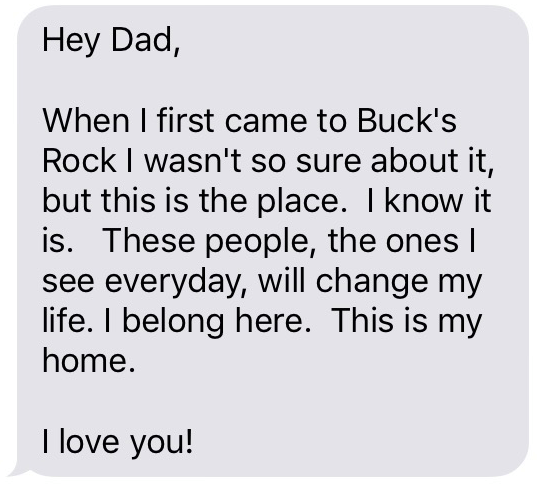 Text message from camper, Summer 2017