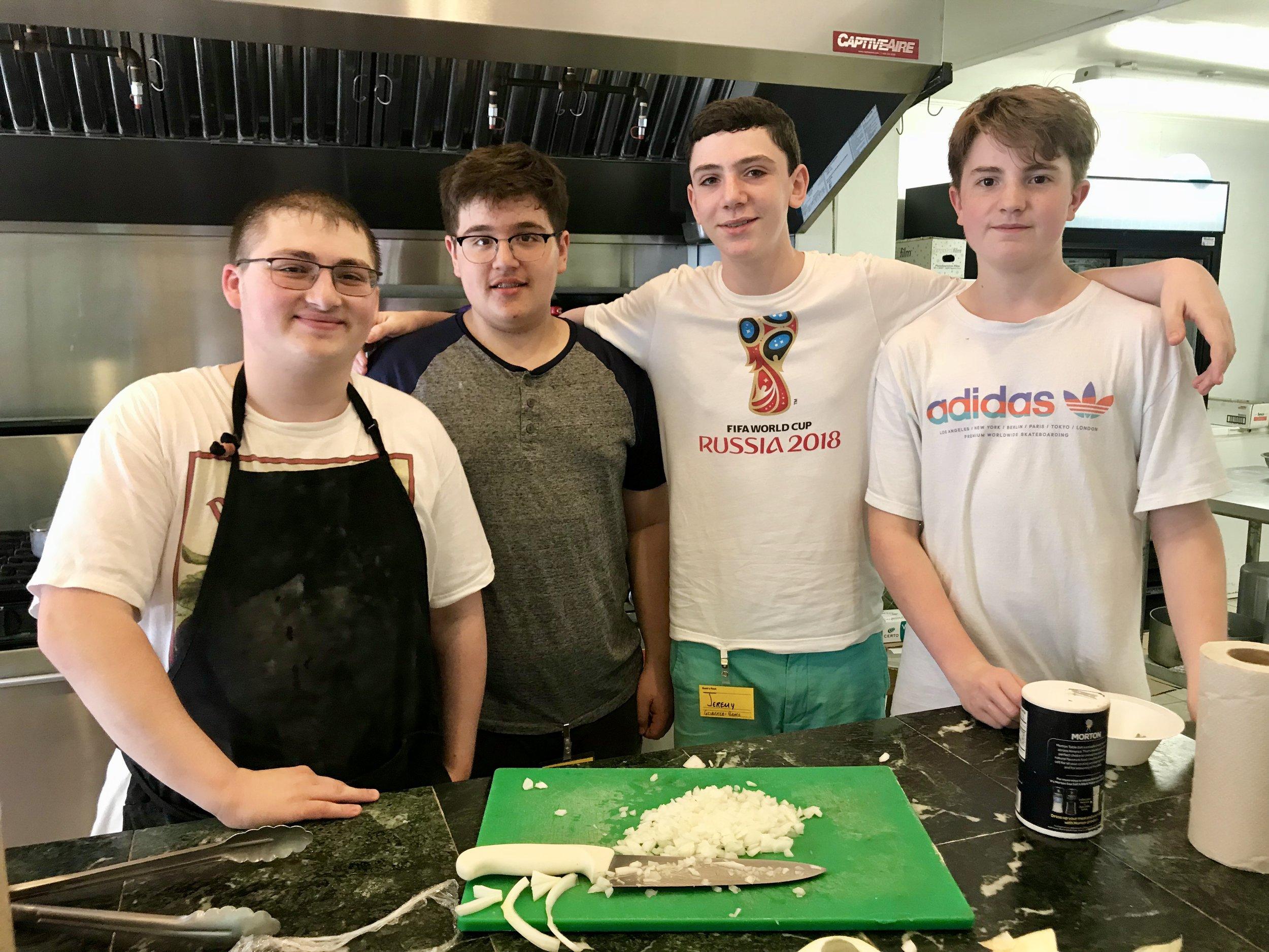 Chopping onions is a team sport!