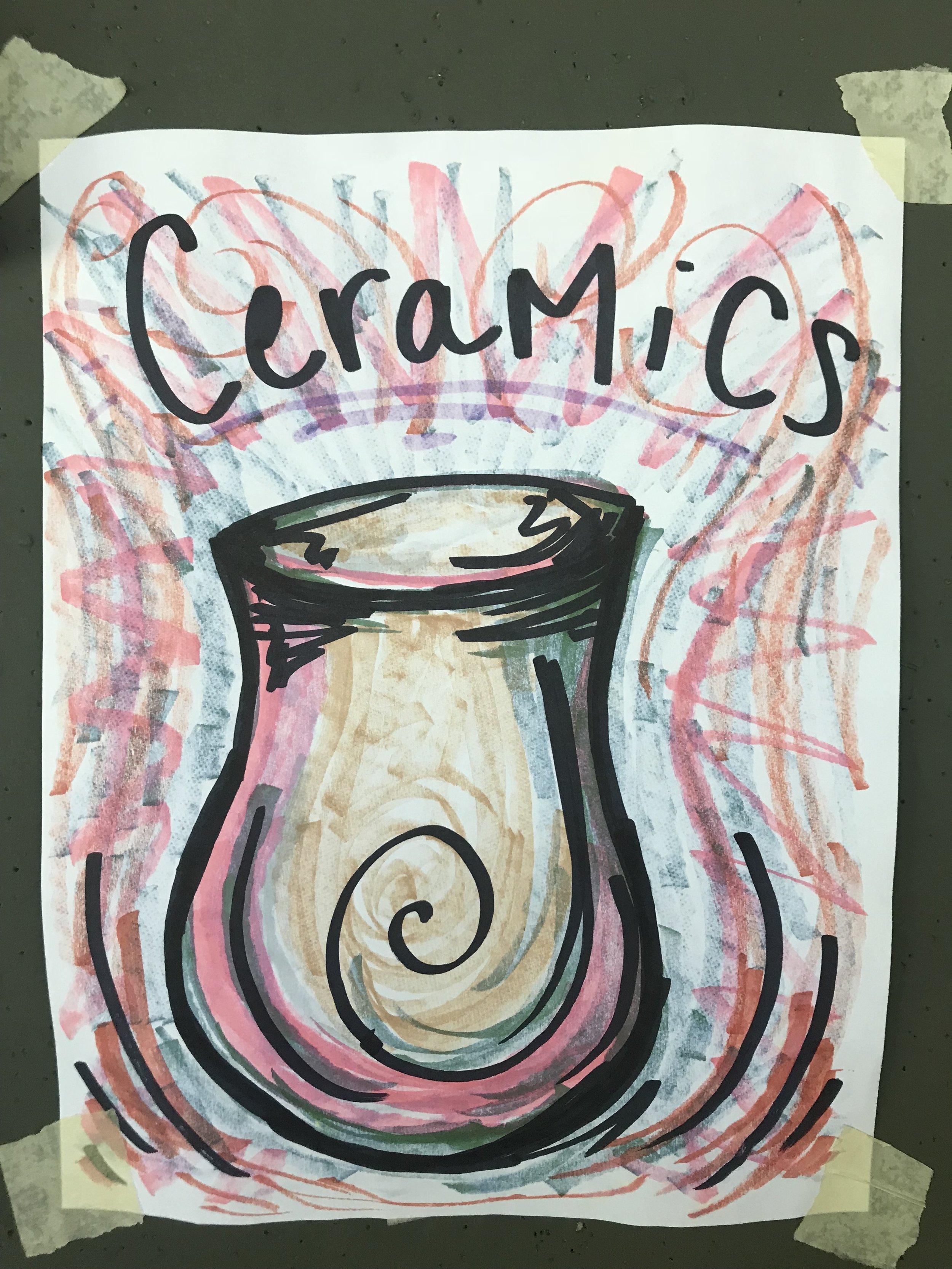 Painting ceramics.