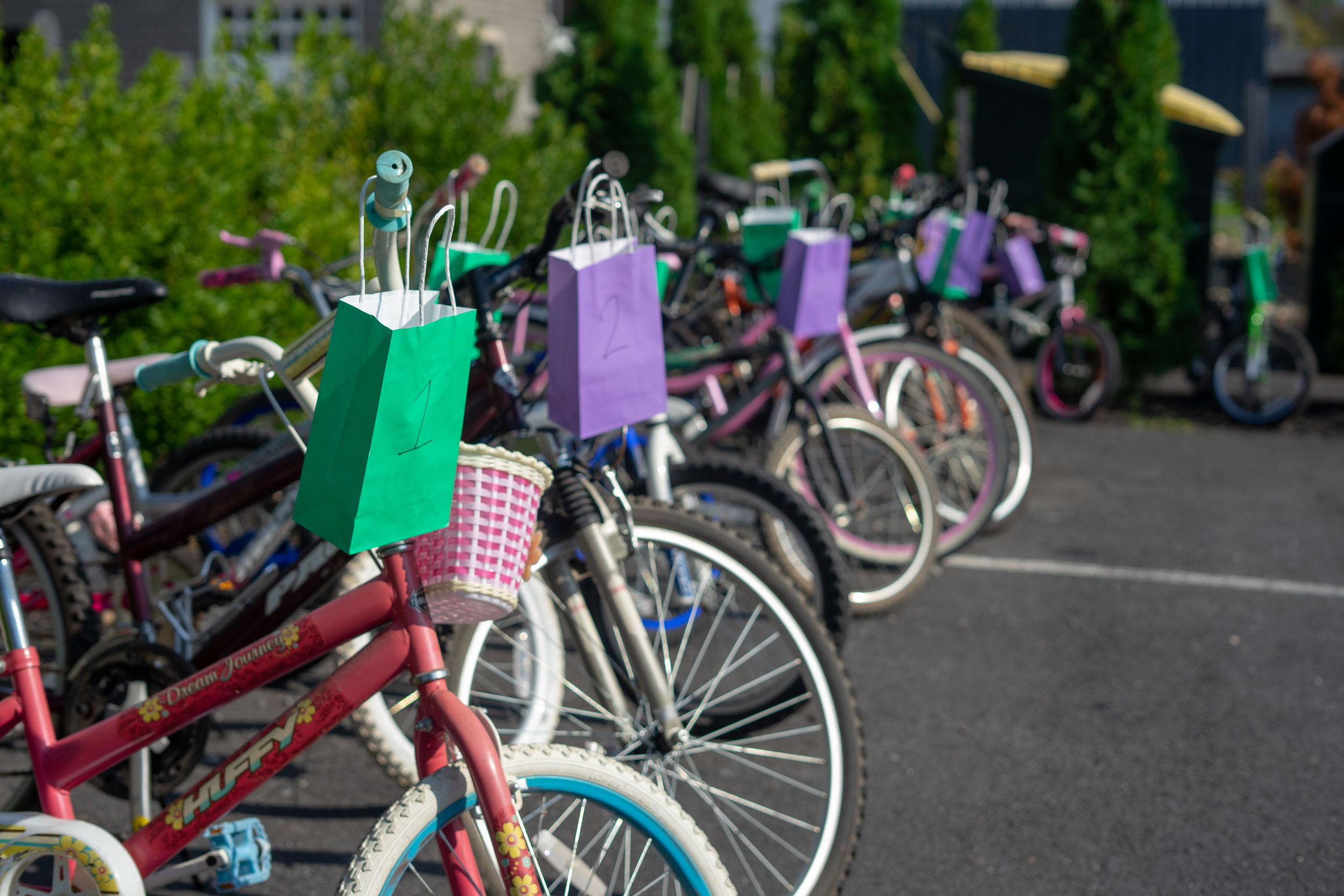 New Hope Ministries raffled 16 bicycles at the Back-to-School Fair on August 2, 2019. Bicycles were donated by generous members of the community. (Photo by Lydia Emrich)