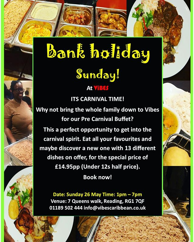 OUR PRE CARNIVAL buffet is just 5 days away. Food for all the family with 13 different dishes to choose from! Amazing Caribbean food, unreal Caribbean cocktails and that Caribbean VIBEE!! We can't wait to see you all there! • •  #vibes #caribbean #buffet #food#cocktails